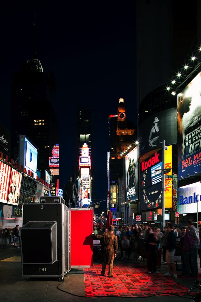 Theatre for One in Times Square. Photo by Danny Bright.