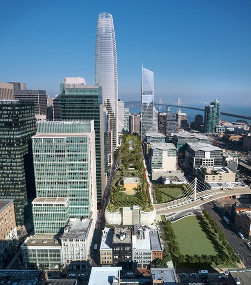 Rendering of the Transbay Transit Center which opened to the public last month. Image: Transbay Joint Powers Authority.