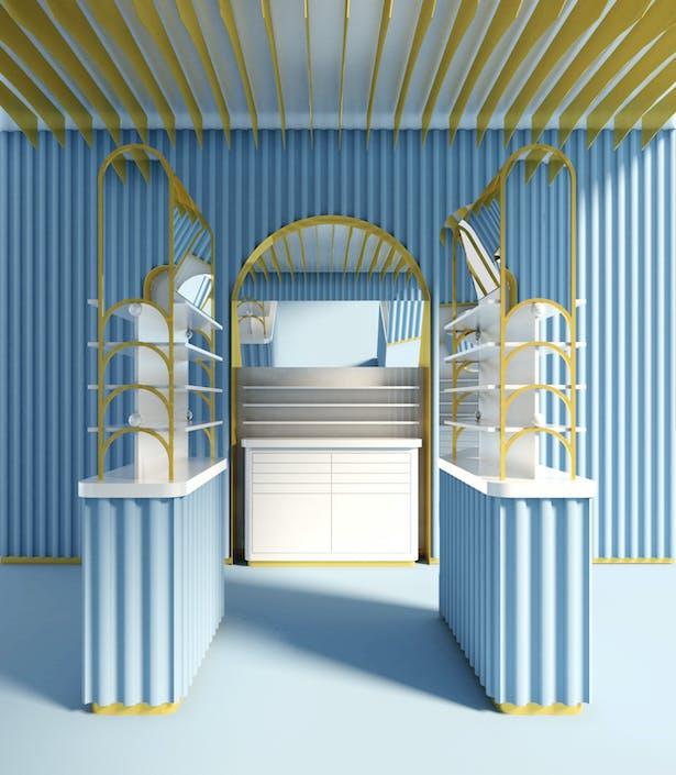 ALEKSA studio Covent Garden shop interior visual, Client: For Arts Sake