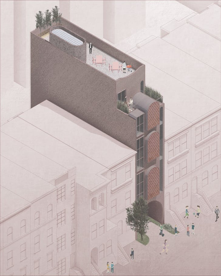 Dwelling Without Corridors axonometric drawing. Image courtesy of Architensions.
