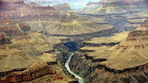 The Colorado River flows through the Grand Canyon, as seen from Mohave Point on the South Rim. The National Park Service says a proposed housing development would have dire consequences for the park's scarce water supply. (Mel Melcon / Los Angeles Times)