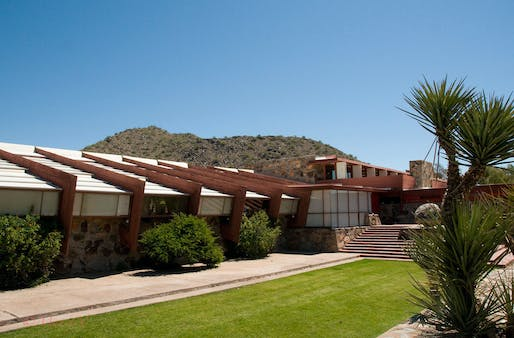 Photo of Taliesin West, designed by Frank Lloyd Wright. Image courtesy of Wikimedia user Maarten Nijman.