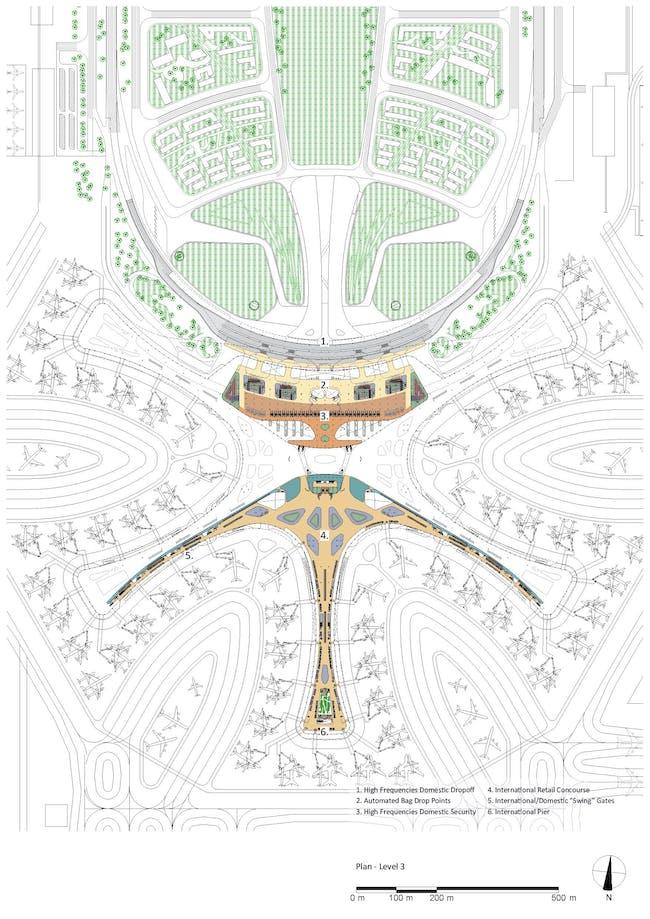 Plan - Level 3. Courtesy of Zaha Hadid Architects.