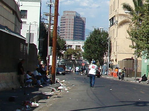 A view of LA's Skid Row district, 'home' to one of the largest stable homeless populations in the United States. (Image: Wikipedia)