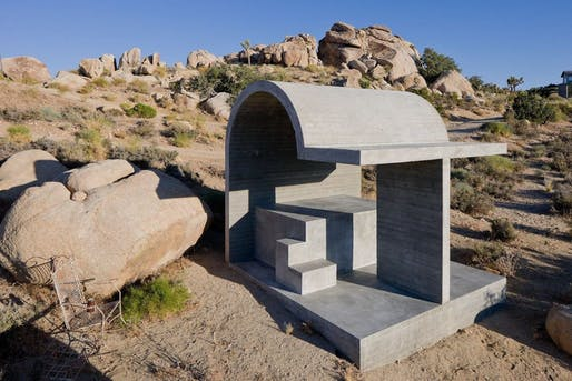 One of three totemic pavilion's in Joshua Tree, CA by Arata Isozaki; Image © Iwan Baan