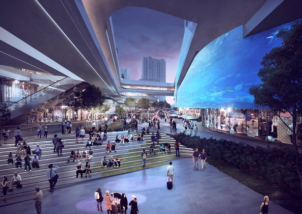 The public realm at Populus X will be the Future City Living Room to Pinghu where people can meet and socially interact.
