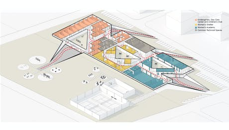 plan perspective diagram of Woman Academy