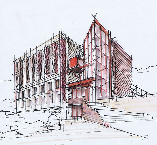 Initial sketch of the Building