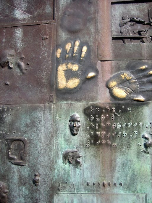 Braille inscriptions at the FDR Memorial in Washington D.C. However, the inscriptions are placed too high up for most people to reach. Photo via.