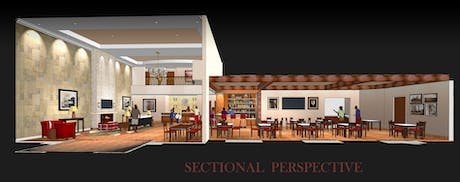 Sectional Perspective Interior Lobby for Comfort Suites at Dallas Executive Airport (SketchUp)