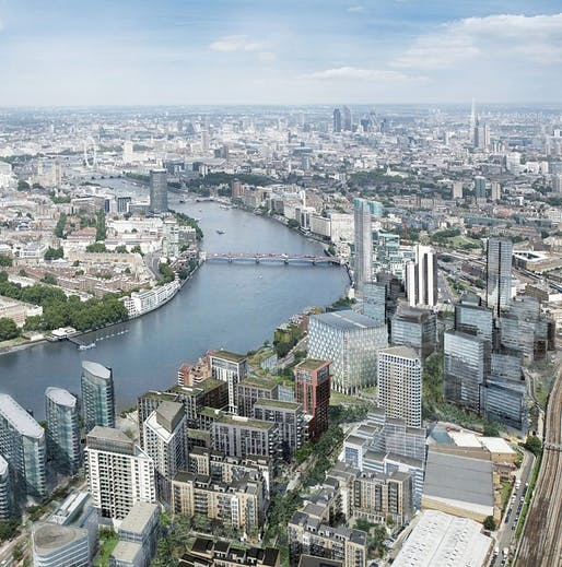 View of the River Thames at Nine Elms, looking east. Photo credit: Ballymore Group, via nepbridgecompetition.co.uk.