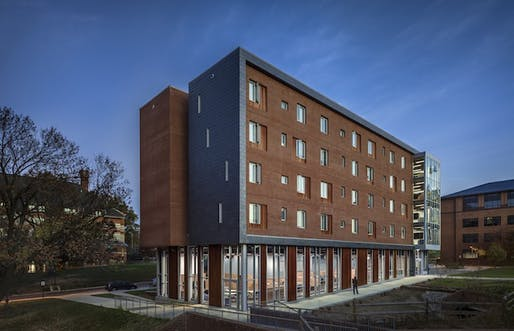 Gallaudet University's newest residence hall was designed specifically for deaf students by New York City-based LTL Architects. The 60,000-square-foot building is the first to fully employ architectural principles that cater to the communication and spatial needs of the hearing impaired. Image...
