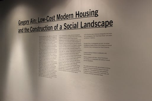 """Photo from """"Gregory Ain: Low-Cost Modern Housing and The Construction of a Social Landscape."""" The exhibition took place April 4th to April 26th at the WUHO Gallery in Hollywood. © Woodbury University"""