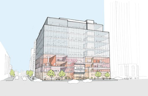 Exterior sketch of Sotheby's reorganized New York HQ. Credit: OMA New York.