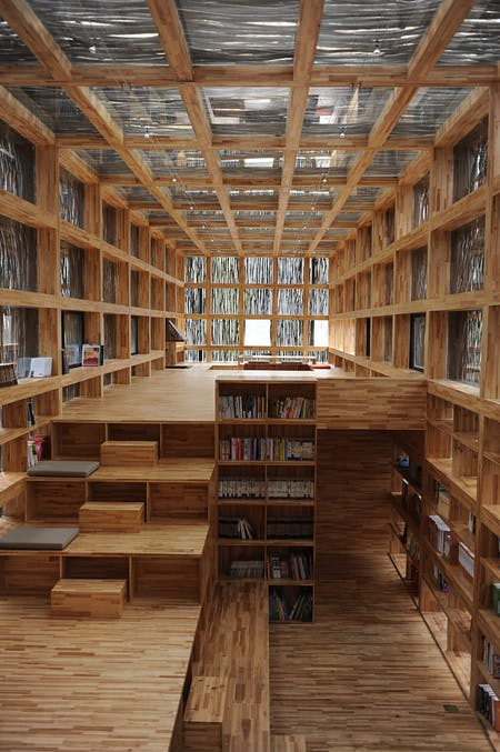 Interior of the Liyuan Library in Jiaojiehe Village near Beijing, China