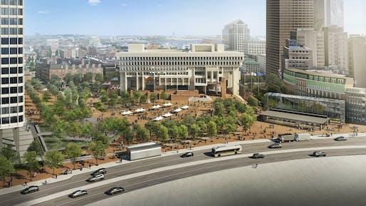 Aerial rendering of the Sasaki-designed Boston City Hall Plaza Renovation project. Image courtesy Sasaki.