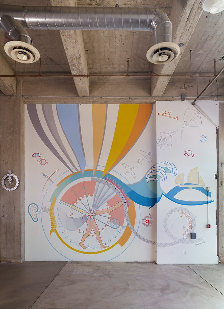 """How Things Work"" Mural. (Iridescent Science Studios, Downtown LA, 2010) The educational mural collages most of the science and engineering topics taught by the non-profit (Photo by Benny Chan)."