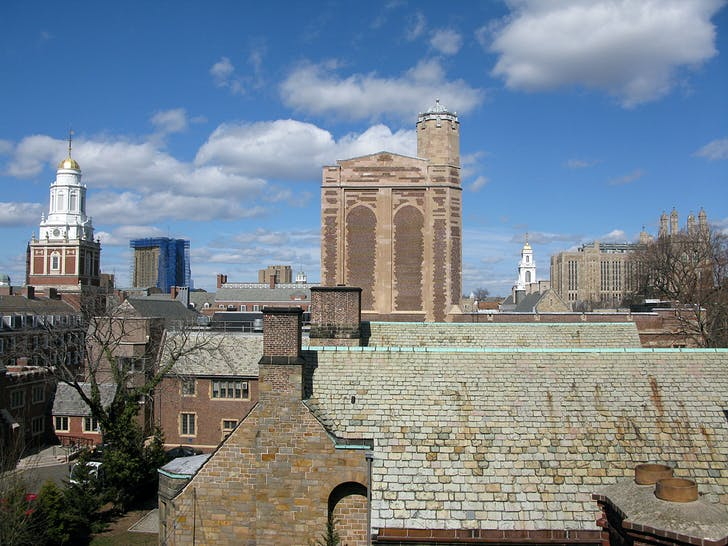 The Yale University skyline as seen from the roof of Rudolph Hall.