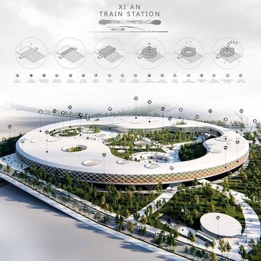 Transportation Building Award Winner – XI'AN Train Station by Álvaro Martin Gonzalez, Jorge Cobo Susperregui (Spain)