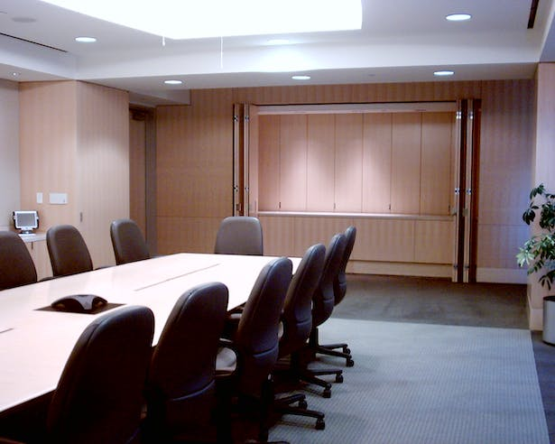 Executive Boardroom with Pass-thru serving pantry beyond