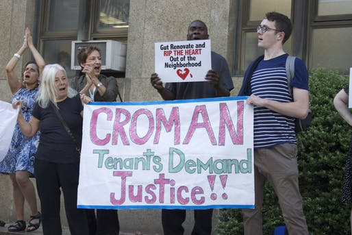 Croman tenants rally outside the Manhattan Supreme Court in June of 2016.