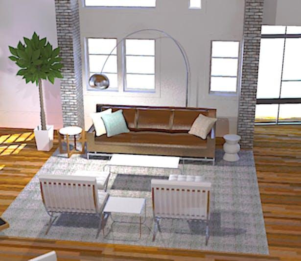 SketchUp w/ Twilight Plug-In Render of Great Room Conversation Area