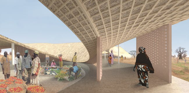 Courtyard in the THREAD Arts Center in the village of Sinthian in Senegal, designed by Toshiko Mori Architect.