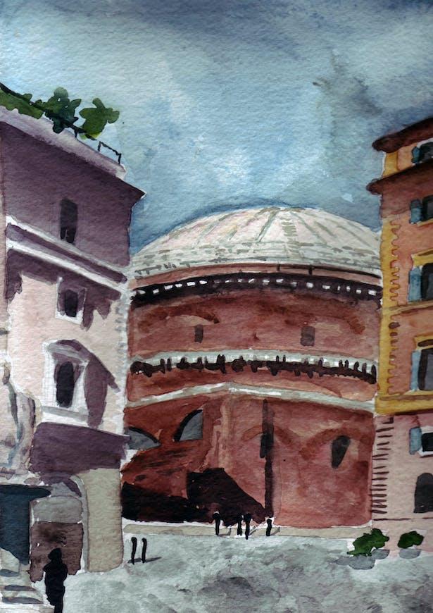 A rear view of the Pantheon from Santa Maria Sopra Minerva.