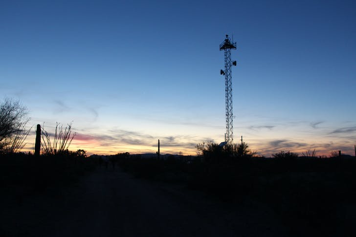 Surveillance tower in Organ Pipe Cactus National Monument. Photograph by Nina Kolowratnik.