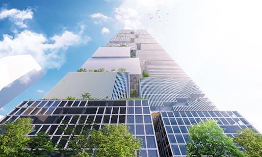 The Lanescraper proposal by BIG, located in Melbourne, AU. Image: BIG.