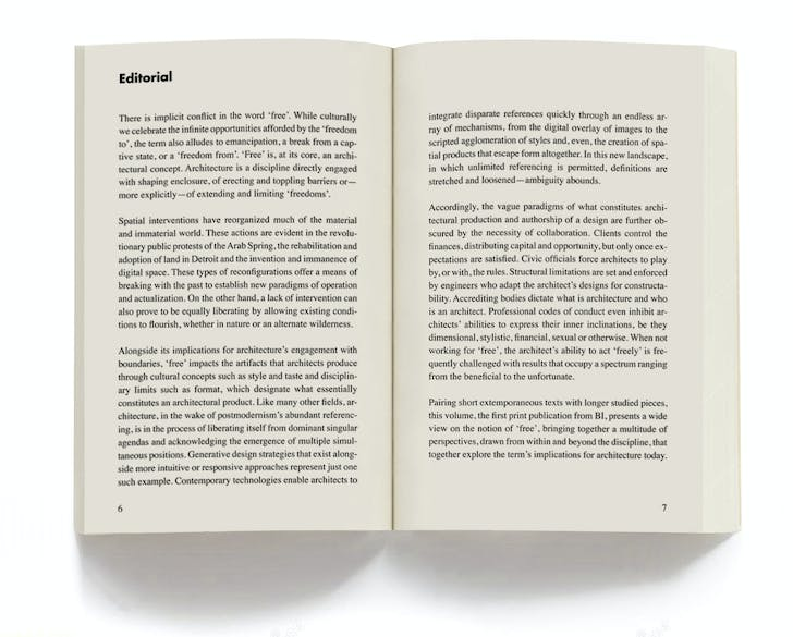Page spread of introduction text from 'FREE'.