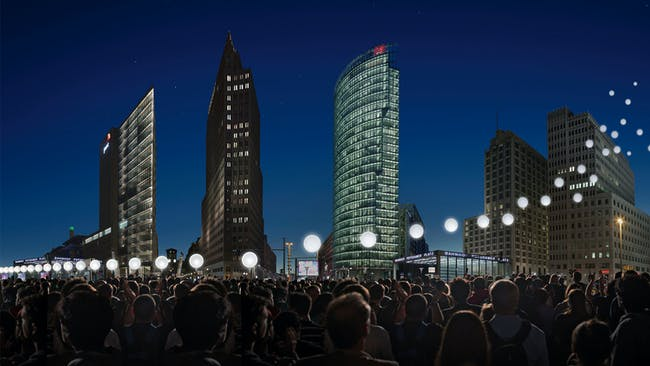 Visualization of the Lichtgrenze at Potsdamer Platz; © Kulturprojekte Berlin_WHITEvoid / Christopher Bauder; Photo: Daniel Büche