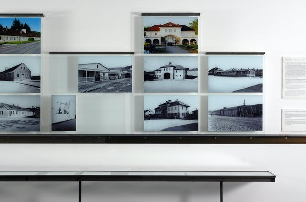Sequence showing construction of concentration camp buildings.