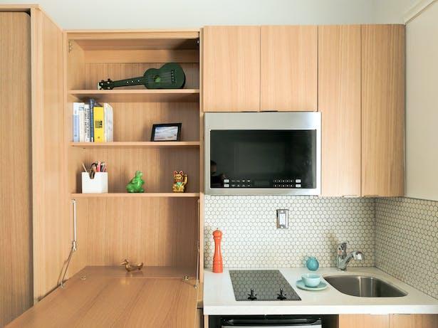 Interior of a microunit with custom designed modular furniture