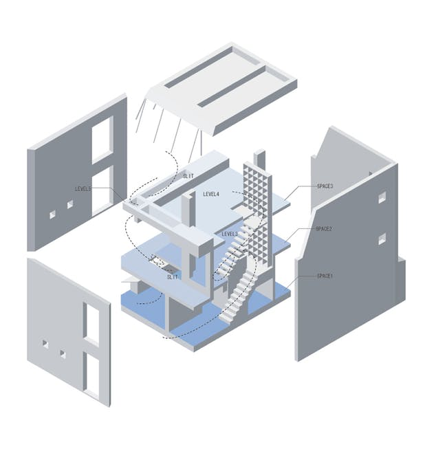 The architecture has 5 LEVELS and 3 SPACES. Light, wind, music, scent,scenery and eye contacts freely intertwine with each other. (drawing by MoNo)