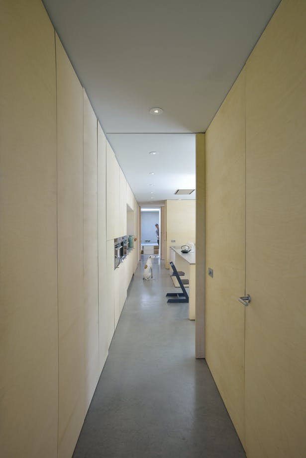 All interior walls are covered with a birch multiplex panel