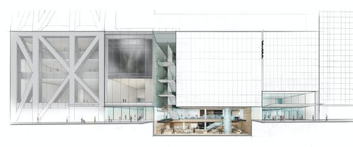 Elevation of The Museum of Modern Art on 53 Street with cutaway view below street level. © 2017 Diller Scofidio + Renfro
