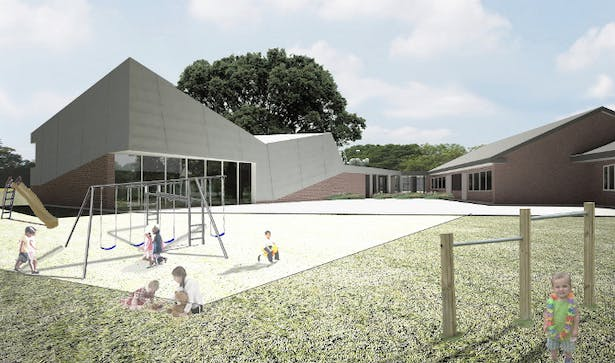 Rendering of the gymnasium rear view.