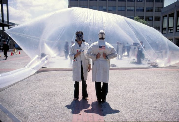 Members of Ant Farm outside of one of their inflatable structures. Image via Carnegie Mellon University.