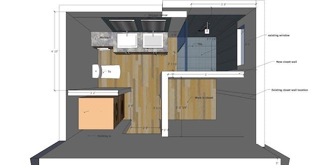 Master bathroom proposed design-plan