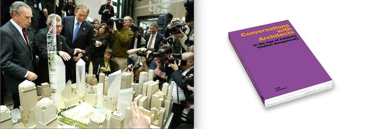 (L) The 2002 news conference which inspired Belogolovsky to create (R) 'Conversations with Architects' (photos via Wall Street Journal and dom-publishers)