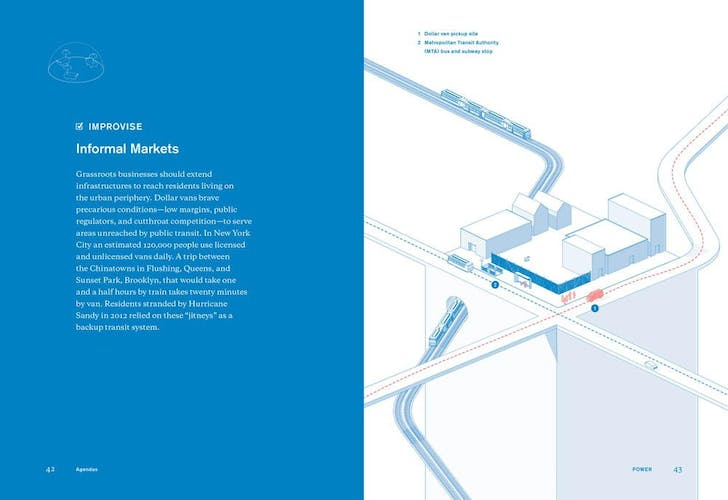 A spread from 'the Underdome Guide to Energy Reform.' Credit: Janette Kim and Erik Carver / Princeton Architectural Press