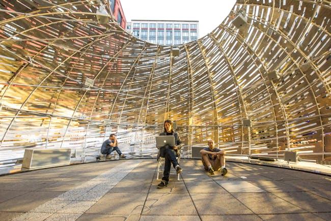 Orbit Pavilion at the May 2015 World Science Festival at New York University, designed by Jason Klimoski, StudioKCA, with sound composition by Shane Myrbeck and creative strategy by NASA JPL. Photo courtesy NASA/JPL-Caltech