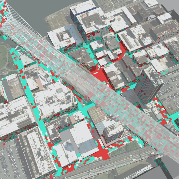 Neurological heat-map from Cloud Lab's DUMBO experiment, displaying meditative (blue) and stressful (red) experiences throughout the neighborhood. Image via GSAPP's Cloud Lab.