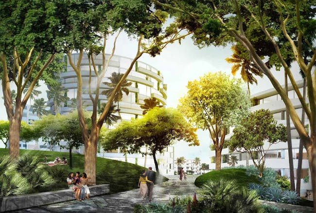 Parking for the new residential area is covered by a raised park. The topography of the new park creates privacy between the residential building and the Convention Center. Image © OMA