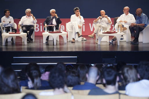 The notoriously all-male 'Meetings on Architecture: Infrastructure' panel at the Venice Biennale. Image courtesy of La Biennale di Venezia.