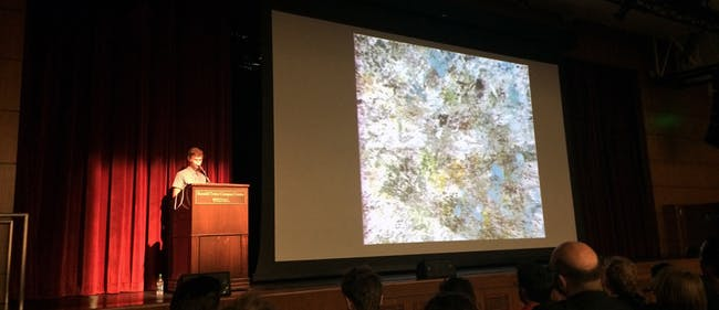 Casey Reas' keynote lecture. Photo by Anthony Morey.