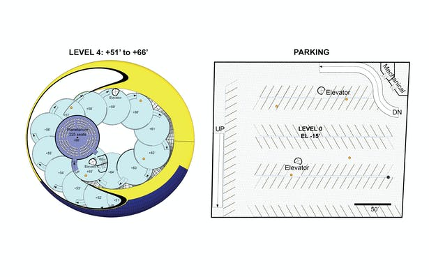 Louisville Children's Museum proposal Floor Plans for Levels 4 and underground parking.