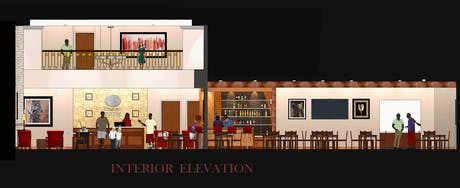 Interior Lobby Elevation for Comfort Suites at Dallas Executive Airport (SketchUp)