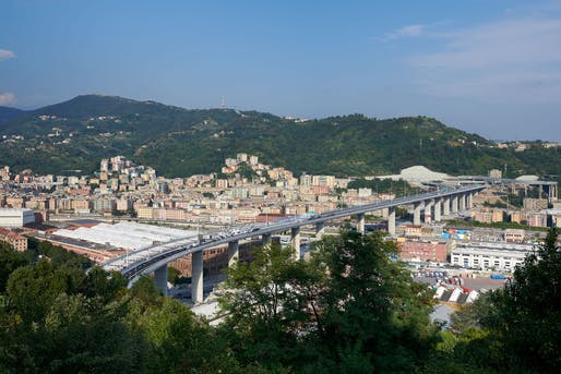 "Bird's eye view of the completed 1,067-meter-long bridge that replaces the <a href=""https://archinect.com/news/article/150085348/an-investigation-into-the-genoa-bridge-collapse"">collapsed Morandi highway bridge</a> in Genoa, Italy. Image via PerGenova on <a href=""https://www.facebook.com/PerGenova.SCpA/photos/a.2173803459393923/3175192169255042/?type=3&theater"">Facebook</a>."
